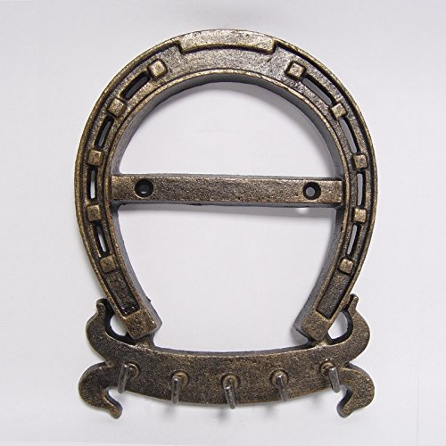 Portachiavi Gancio da parete ferro di cavallo in ghisa colore bronzo Schlüsselleiste-Set attacapanni stalla