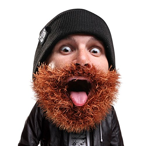 Beard Head Bartmütze – Buschiger Biker – Lustige Strickmütze und Falscher Bart Gesichtsmaske