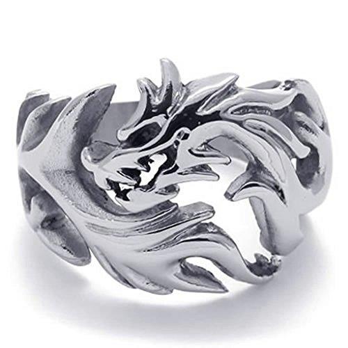 Adisaer Herren Ring Edelstahl Hohl Chinesischer Drache Dragon Ringe Silber Für Männer Ring Größe 57 (18.1) (Kostüm Raben Gothic)