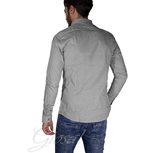 Camicia Uomo Casual Slim Bottoni Microcubi Colletto Blu/Grigia GIOSAL Grigio