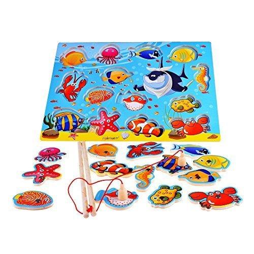 14 pezzi pesci di legno educativi Bagno magnetica pesca d'altura, regalo di...