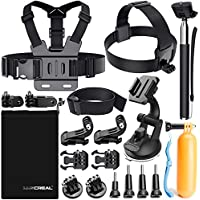 Luscreal Accessories for GoPro, Action Camera Accessories Kit for Go Pro Hero 6 5 4 3 2 1 Hero Session 5 Black AKASO EK7000 Apeman and More