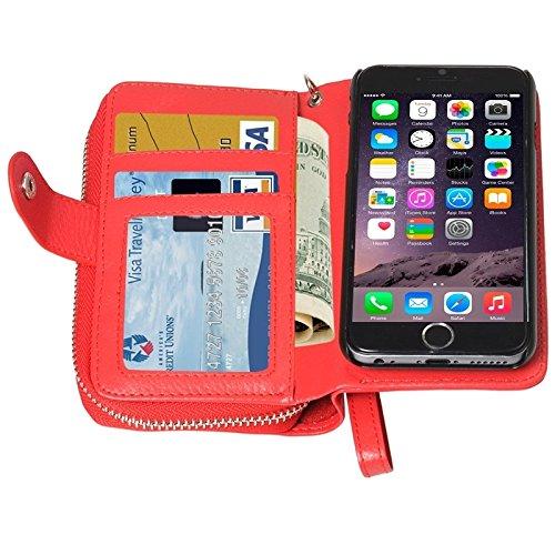 Phone case & Hülle Für iPhone 6 / 6S, 2 in 1 Trennbare Reißverschluss-Geldbörse Ledertasche mit Lanyard ( Color : Magenta ) Red