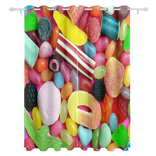 KAOROU Süßes buntes und mannigfaltiges Süßigkeiten-dekoratives hängendes 2 Panel-Set druckte Blackout-Vorhänge für Schlafzimmer-Wohnzimmer-Esszimmer-Fenster drapiert 54x84 Zoll-Vorhang