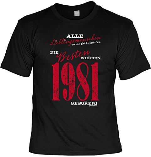 T-Shirt zum Geburtstag - Lieblingsmenschen - Die Besten wurden 1981 geboren! - Geschenk - Fun shirt - schwarz Schwarz