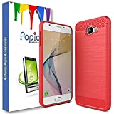 #8: Popio Samsung Galaxy On7 Prime Back Cover Carbon Fiber Shock Proof Rugged Armor Case with Metallic Brush Finish For Samsung Galaxy On7 Prime (Metallic Red)