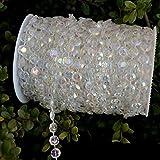 Fresh66 30M/Roll Perlengirlande Kristall Girlande Diamant Acrylkorne Dekogirlande Tischdeko Hochzeitsdeko