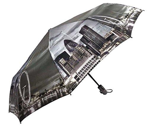 London Eye Auto Open & Close Faltbarer Regenschirm, Luxus winddicht umbrella925