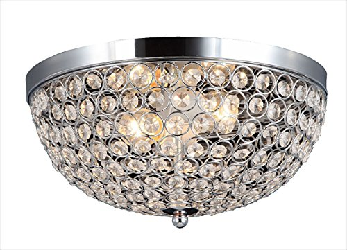 Bronze Flush Mount Decke Licht (Pendelleuchten Ellipse Kristall Kronleuchter 2 Licht Decke Flush Mount, Chrom (größe : D33*H16.5cm))
