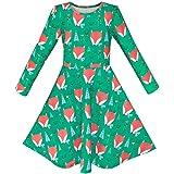 Mädchen Kleid Grün Wald Rot Fox Lange Ärmel Gr. 134