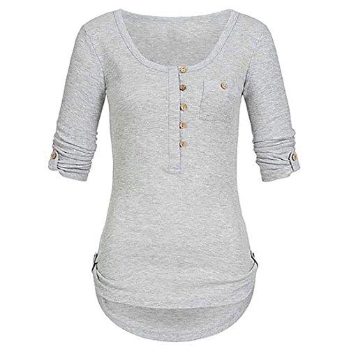 BHYDRY Frauen Damen Solide Langarm Knopf Bluse Pullover Tops Shirt Mit Taschen(M,Grau) -