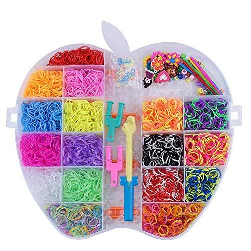 Createjia 6000 STÜCKE 16 Farben Webstuhl Gummibänder Regenbogen Gummibänder Refill Webstuhl Kits Mit 1 Doppelstrickmaschine Für Kinder