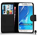 Premium Leather BLACK Wallet Flip Case FOR Samsung Galaxy J5 2016 Case Cover with Mini Touch Stylus Pen Screen Protector & Polishing Cloth Black Cap, (WALLET BLACK)