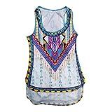 Rcool Camisas Sin Mangas de la Camiseta de la Paño de la Impresión de las Mujeres Chaleco (XL, Multicolor)