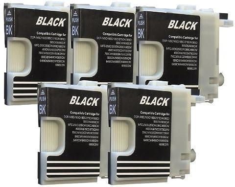 5 Druckerpatronen für Brother Black/Schwarz LC980 LC1100 DCP-145C DCP-165C DCP-185C DCP-195C DCP-365CN DCP-375CW DCP-385C DCP-395CN DCP-585CW DCP-J715W DCP 6690CW MFC-250C MFC-255CW MFC-290C MFC-295C MFC-295CN MFC-355CW MFC-490CN MFC-490CW MFC-J615W MFC-670CDW MFC-790CW MFC-795CW MFC- 930CDN MFC-990CW MFC-930CDWN MFC-5490CN MFC-5890CN MFC-6490CN MFC-6490CW MFC-6890CN MFC-6890CDW MFC-5895CW