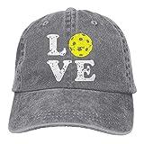 Aoliaoyudonggha Mens/Womens Love Pickleball Denim Fabric Baseball Cap Adjustable Hat