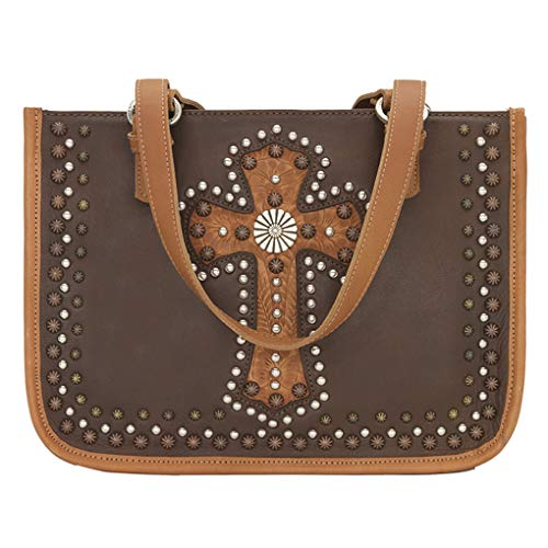 American West & SILVERFEVER, Damen Henkeltasche Medium, Braun - Las Cruces -Golden - Größe: Medium (West American Handtasche)
