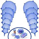 ANPHSIN 12PCS (ca.400g) Silikondeckel, Silikon Stretch Deckel, Stretch Lid Frischhalte, dauerhaft & erweiterbar Aufbewahrung, Food Saver Abdeckungen für Becher, Dosen, Schüsseln