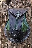 Sacoche pour ceinture en cuir tanné noir et vert, médiéval, elfique, fantaisie, elfe