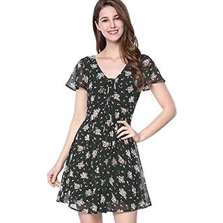 Allegra K Women's Summer Flounce Sleeve Lace up V Neck Chiffon A-Line Floral Dress Black S (UK 8)