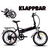 Ultrey Elektrofahrrad E-Bike 20 Zoll Faltende Abziehbar E-Klappfahrrad 250W Hochgeschwind Motor, 36V Li-Ion Akku