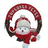 AC-Déco Weihnachtskranz Zum Aufhängen–Frohe Festtage–Aspekt Holz