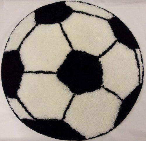 One blank de fútbol blanco y negro alfombra de grosor de diámetro 60 cm aprox (60,96 cm)