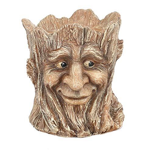 Jiaa Saftiger Blumentopf des Smiley-Simulationsbaumwurzelharzes,Platzierungsart,14cm×12.8cm×15.5cm (Blumentopf Männer Kostüm)