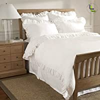 1000TC egiziano 100% cotone elegante finitura 5pcs Frilled Duvet Set Solid, Cotone, White Solid, UK_Super_King