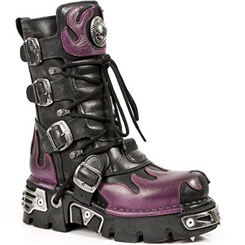 Bottes New Rock 591-S3 gothique motard flamme violette métallique cuir noir noir-violet