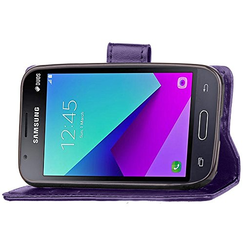 Doppelte magnetische Verschluss geprägte Blumen Premium PU-Leder Schutzhülle Taschenmappe Tasche Folio Stand Case mit Card Slots & Lanyard für Samsung Galaxy J1 Mini Prime ( Color : Rose ) Purple