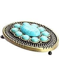 MagiDeal Boucle de Ceinture Vintage Antique Western avec Turquoise pour  Hommes Femmes 418cafaa3e1