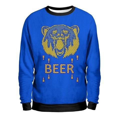 BEAR Felpa Uomo - Beer To Dream Sweatshirt Man - Birra Bionda Rossa Scura Orso Parodia Fun T-Shirt