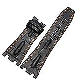28mm nero cinturino in pelle cuciture Band arancione compatibile con AP Royal Oak orologio fibbia