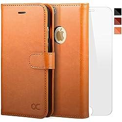 OCASE Funda iPhone 6 Plus Funda iPhone 6S Plus con Protector de Pantalla de Vidrio Templado, Soporte Plegable, Ranuras para Tarjetas y Billetes, Broche Magnético
