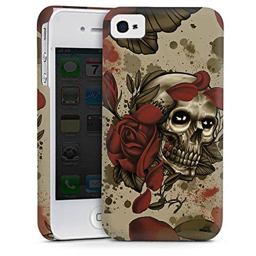 Apple iPhone 5 Housse étui coque protection Tatouage Rock n Roll Tête de mort Cas Premium mat