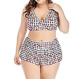 iYmitz Sommer Badeanzug Frauen Plus Größe Hohe Taille Damen Bademode Karierten Drucken Push Up Gepolsterten Bikini Beachwear(Schwarz,EU-50/CN-4XL)