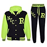 A2Z 4 Kids® Kinder Mädchen Jungen Baseball Trainingsanzug NYC FOX Jacke & Hose - T.S Baseball NYC Black & N. Green 5-6