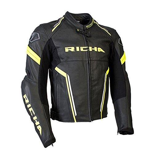 Richa Monza da uomo moto Race Track in pelle di alta qualità, colore: Nero/Giallo