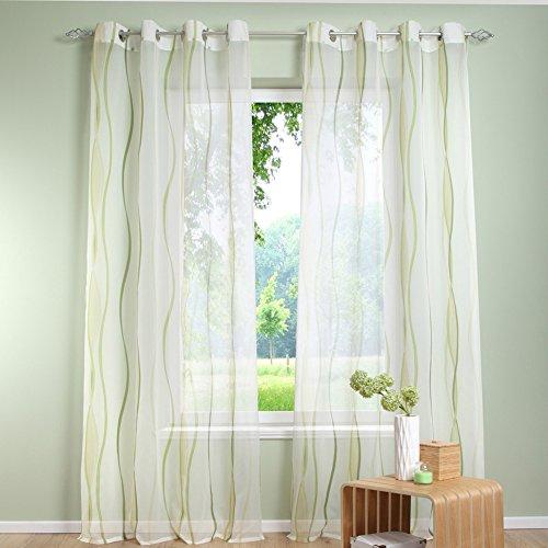 Beimaji Trade Wave mit Streifen-Vorhang, einfache Vorhänge mit blickdichter Vorhang Zuhause mit Fenster, für Wohnzimmer und Schlafzimmer, grün, 140 * 225cm (Vorhänge Streifen Grüne)
