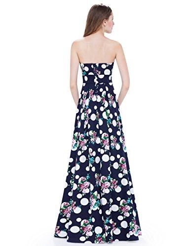 Ever Pretty Robe de Soirée de Cocktail à Pois Floral Bustier Maxi Sans Zip 08973 Bleu Marine