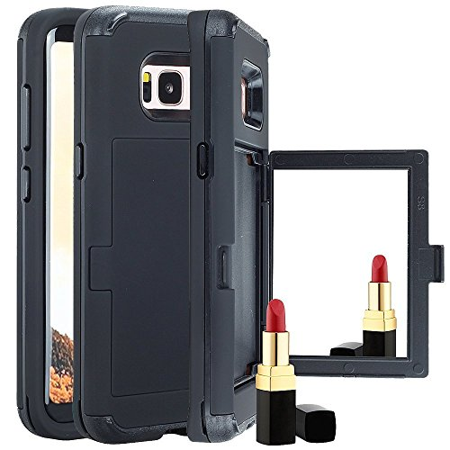 Galaxy S8 Plus Card Holder Kickstand Coque, Lantier Built-In Mirror Dual Layer Defense Wallet High Impact Shock Absorbing Hard PC Soft TPU Hybrid Protective Case pour Samsung Galaxy S8 Plus Noir