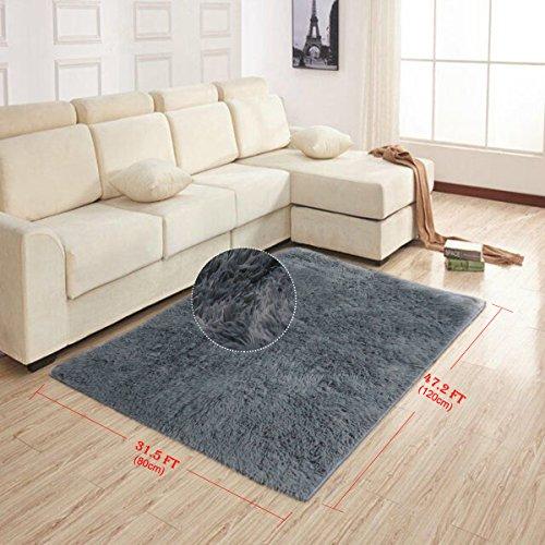 AziPro Teppiche für Wohnzimmer grau Modernen Shaggy Teppich 80X120cm
