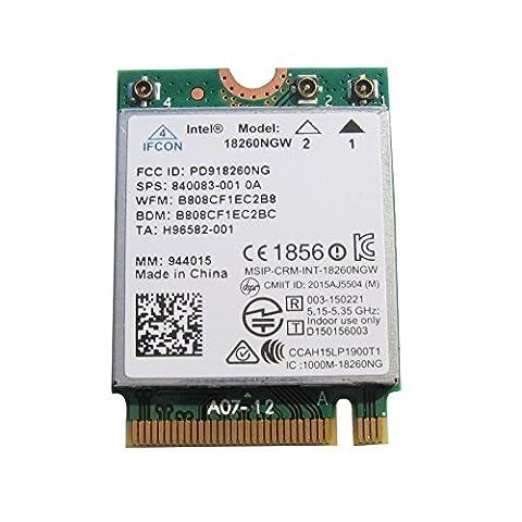 Intel® AC 18260Genouillère 18260Genouillère ngw tri-bande Carte wigig (802.11ad) Wi-Fi (802.11ac/Agn) + Bluetooth Combo Module