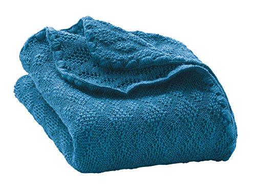 Disana Baby Wolldecke - Gestrickt aus 100% kbT Schurwolle, Größe 100x80cm, Blau, Medium -