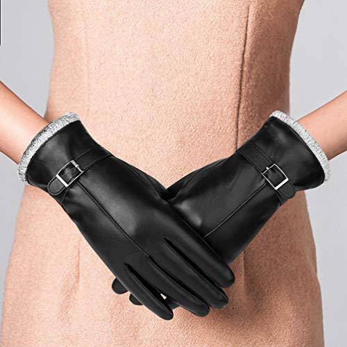 VBIGER Gants Tactiles Hiver Chaud PU Cuir pour Femme,Noir