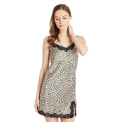LILYSILK Seide Nachthemd Nachtkleid Damen Nachtwäsche Kurz Spitzen 22 Momme Leopard