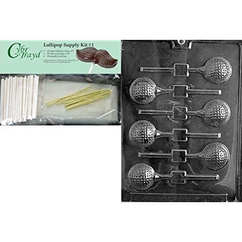 Cybrtrayd 45StK25G-S071 Golf Ball Lolly Chocolate Candy Mold with Lollipop Supply Kit, 25 Lollipop Sticks, 25 Cello Bags and 25 Gold Metallic Twist Ties by