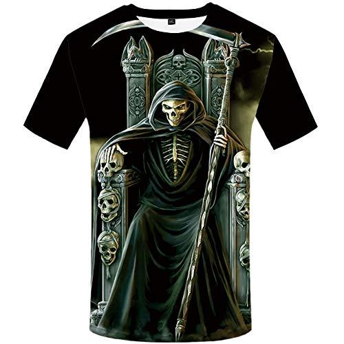 ZCYTIM T Shirt Männer Grim Reaper T-Shirt Bösen Schwarz 3D Druck T-Shirt Hip Hop T Schlank Gothic Herren Kleidung Sommer Tops Neue -