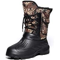 Zapatos Invierno Mujer Botas De Nieve,Protección Del Frío Invierno Impermeable Amarillo Tubo Corto Camuflaje Suave Caliente Cómodo Tubo Medio De Amortiguación Botas De Algodón Antideslizante Ext